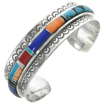Native American Inlay Silver Bracelet 31017