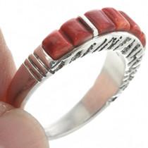 Mediterranean Coral Silver Ring Cobblestone Inlay 31025