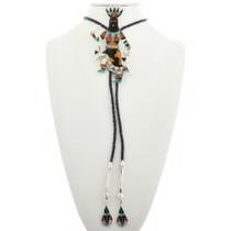 Native American Inlaid Silver Bolo Tie 31042