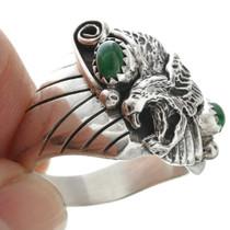 Malachite Set Silver Mens Ring 31043