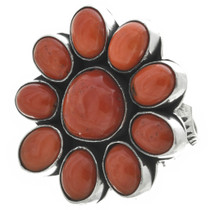 Red Coral Western Silver Ring 31044