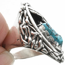 Navajo Sterling Silver Turquoise Mens Ring 31051