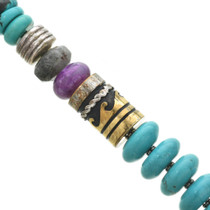 Hand Made Navajo Gold Barrel Beads 31053
