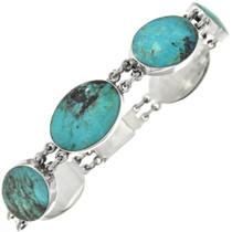 Vintage Turquoise Silver Link Bracelet 31073