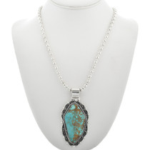 Large Turquoise Sterling Silver Pendant 31060
