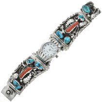 Vintage Turquoise Coral Navajo Made Watch 31070
