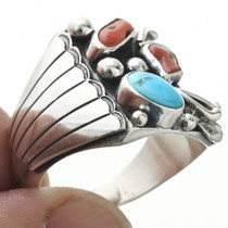 Turquoise Coral Navajo Ring 31071