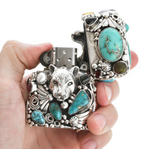 Turquoise Silver Zippo Lighter Case 31125