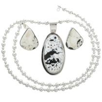 Vintage White Buffalo Turquoise Silver Pendant Set