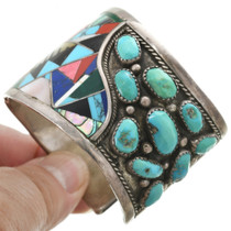 Turquoise Inlay Sterling Silver Cuff Bracelet 31160