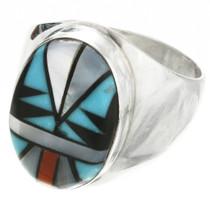 Zuni Inlay Turquoise Ring 31167