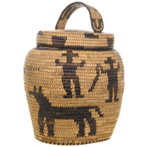 Vintage Papago Basket with Lid 31223