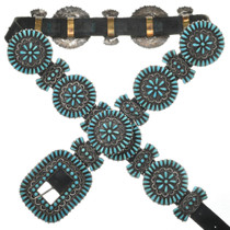 Old Pawn Turquoise Silver Concho Belt 31252