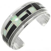 Vintage Zuni Inlaid Silver Opal Bracelet 31254