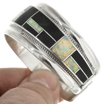 Opal Black Onyx in Sterling Silver Cuff 31254