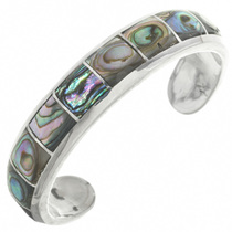 Vintage Inlaid Abalone Silver Bracelet 31257