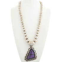 Old Pawn Charoite Silver Pendant Necklace 31273