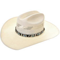 Old Pawn Turquoise Silver Concho Hatband 31287