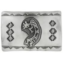 Old Pawn Hopi Kokopelli Silver Belt Buckle 31296
