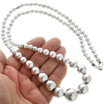 Native American Sterling Silver Bead Necklace 31302