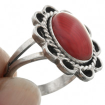 Sterling Silver Coral Ladies Ring 31305