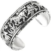 Sterling Silver Navajo Wild Horse Bracelet 31311
