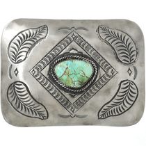 Large Navajo Turquoise Silver Belt Buckle 31318