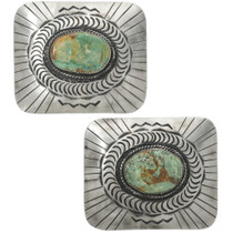 Navajo Turquoise Silver Belt Buckle 31324