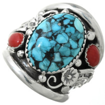 Navajo Turquoise Coral Mens Ring 31325
