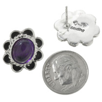 Native American Amethyst Silver Earrings 31328