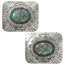 Native American Turquoise Silver Western Belt Buckle 31335