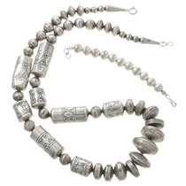 Native American Silver Barrel Bead Necklace 31345