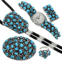 Vintage Navajo Turquoise Mens Jewelry Set 31366