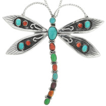 Vintage Navajo Turquoise Silver Dragonfly Pendant 31382
