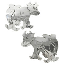 Hand Made Sterling Silver Cow Brooch 31384