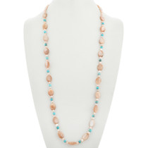Navajo Turquoise Pink Shell Necklace 31397