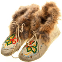 Vintage Fox Fur Indian Leather Moccasins 31502
