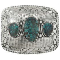 Navajo Hand Stamped Sterling Silver Turquoise Belt Buckle 31422