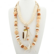 Navajo Chunky Two Strand Bone Bead Necklace 31479