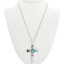 Vintage Sterling Silver Cross Turquoise Pendant 31495