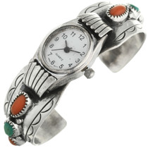 Vintage Turquoise Coral Ladies Watch Cuff 31610