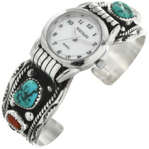 Old Pawn Turquoise Coral Silver Watch Cuff 31616