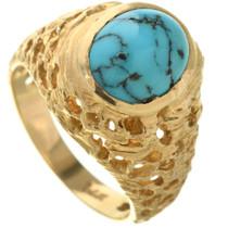 Vintage Turquoise 14K Gold Mens Ring 31623