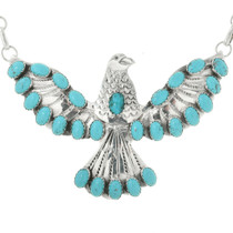 Turquoise Silver Eagle Pendant Necklace Ladies Navajo Sterling Link Design 0017