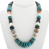 Navajo Made Gold Turquoise Necklace 31636