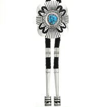 Large Turquoise Overlaid Sterling Bolo Tie With Sterling Tips 31632