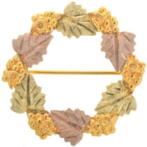 Ladies Vintage Black Hills 12K Gold Wreath Pin Brooch