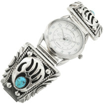 Turquoise Silver Bear Paw Mens Watch