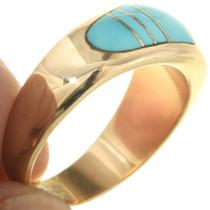 Domed Inlaid Design 14K Gold Turquose Ladies Ring
