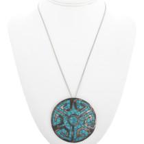 Vintage Inlaid Turquoise Pendant Pin